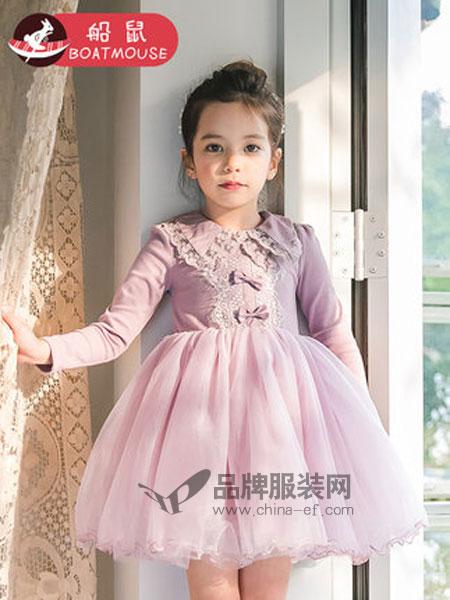 船鼠 BOATMOUSE童装品牌2019春季刺绣翻领小女孩网纱裙公主裙