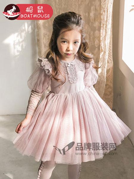 船鼠 BOATMOUSE童装品牌2019春季韩版长袖蕾丝刺绣纱裙儿童裙子公主裙