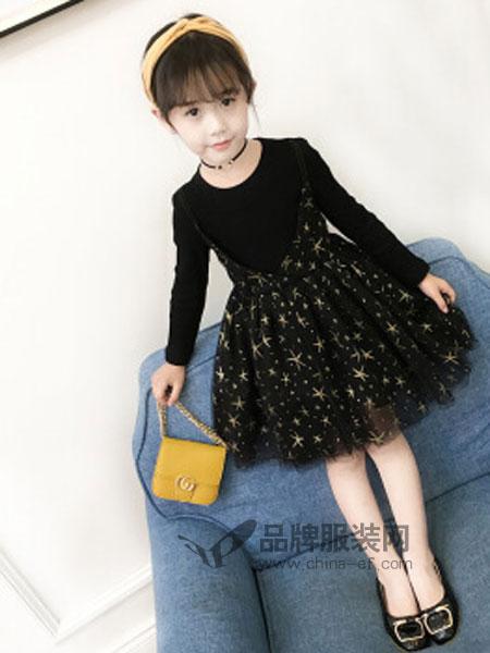 趣籍童装品牌2018秋冬海星连衣裙儿童纱裙蓬蓬裙