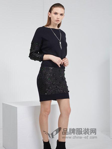 KODICE女装品牌2018秋冬新品时尚圆领拼接钉珠亮片针织上衣