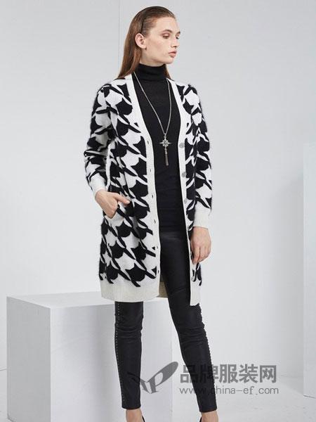 KODICE女装品牌2018秋冬新品简约黑白V领中长款修身针织外套