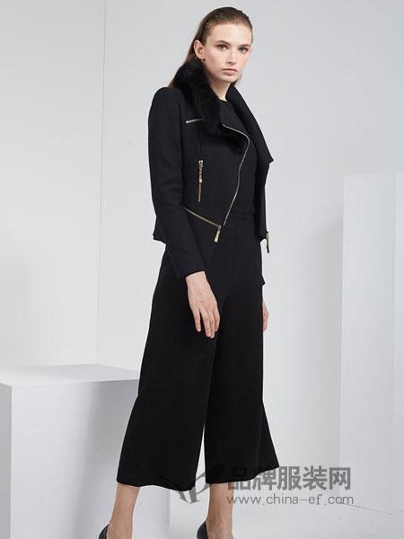 KODICE女装品牌2018秋冬新品时尚简约毛领纯羊毛短款拉链外套