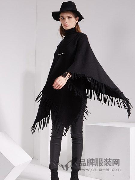 KODICE女装品牌2018秋冬新品时尚流苏纯羊毛斗篷毛衣外套上衣