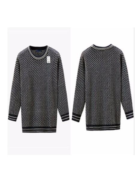 亚马逊爆款羊毛100%男士毛线衣波普撞色提花男女装毛衣