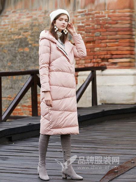 三彩女装女装品牌2018秋冬连帽直筒过膝长款羽绒服加厚宽松