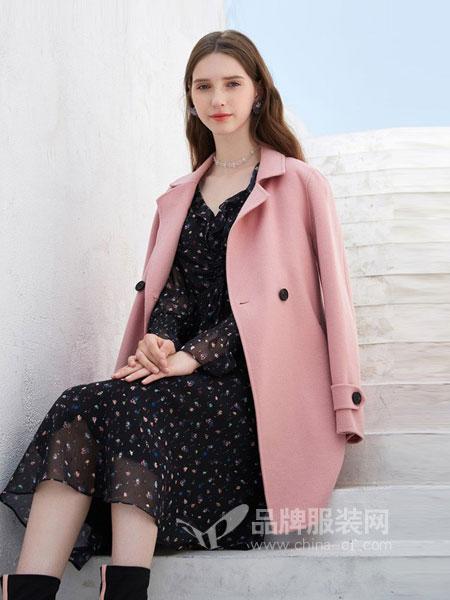 三彩女装女装品牌2018秋冬气质西装领羊毛大衣中长双面呢外套