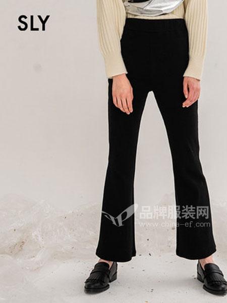 SLY女装品牌2019春季时尚纯色高腰休闲喇叭长裤