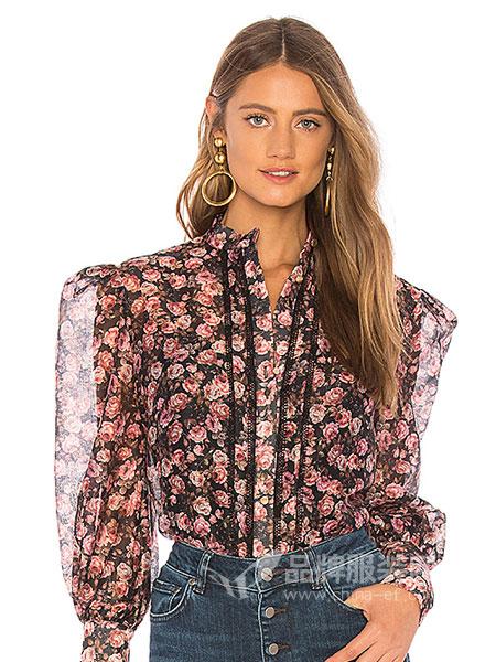 KEEPSAKE女装品牌2018秋冬玫瑰花朵印花半透明透视网格长袖