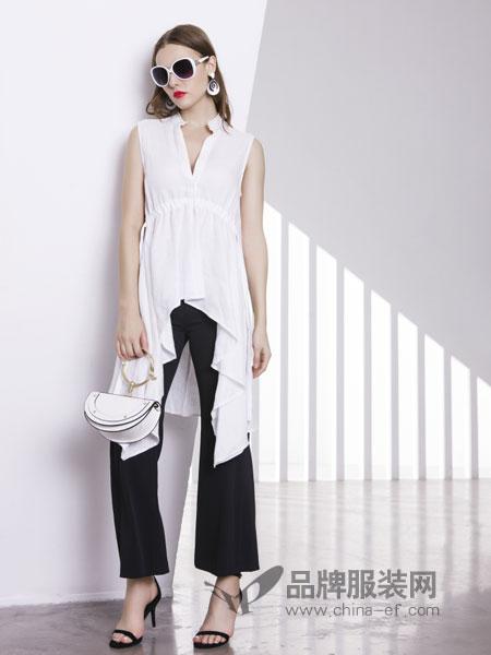 例格女装品牌2019春季气质收腰设计无袖衬衣