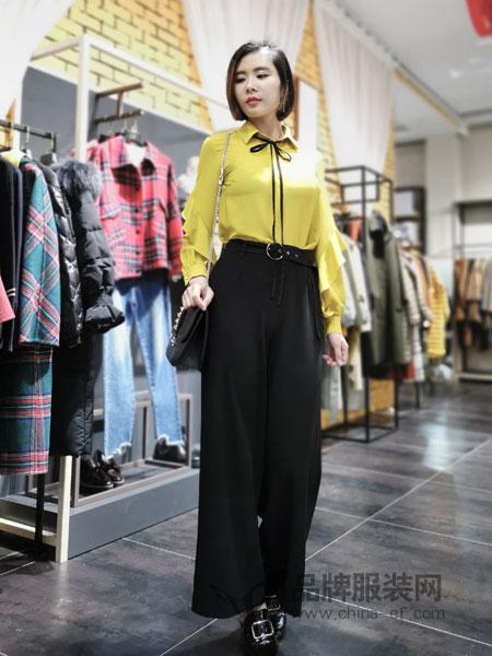 埃迪拉女装品牌2019春夏拼接直筒长裤百搭垂感