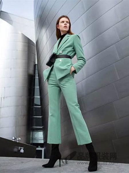 曼娅奴女装品牌2019春季气质西装套装英伦风白领职业时尚名媛