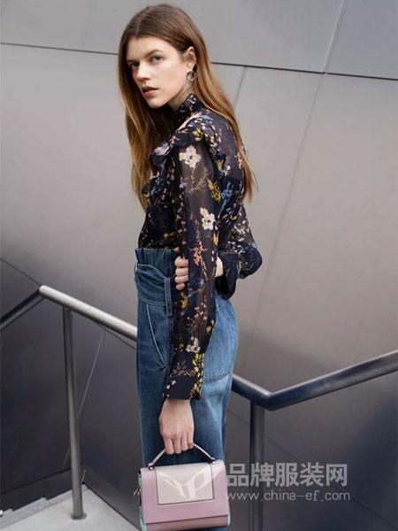 曼娅奴女装品牌2019春季高腰显瘦长袖连衣裙