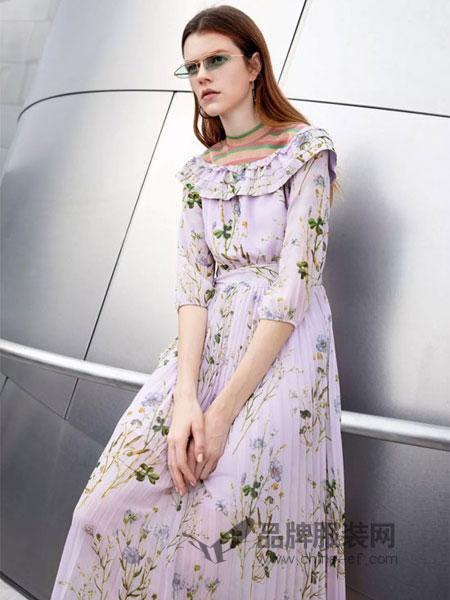 曼娅奴女装品牌2019春季印花碎花荷叶领系带收腰显瘦长袖雪纺连衣裙子