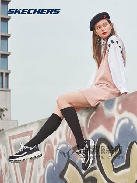 斯凯奇鞋帽/领带品牌2018秋冬熊猫鞋蕾丝厚底松糕运动鞋