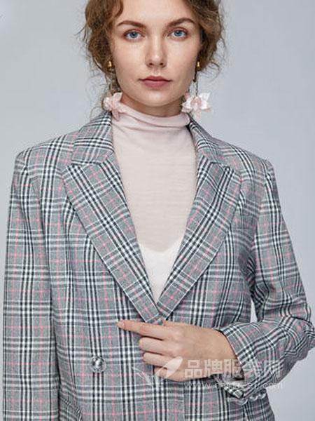Miss Sixty女装品牌2019春季翻领格子休闲西装外套