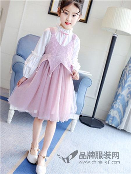 班尼豆童装品牌网纱连衣裙背带裙长袖衬衣套装