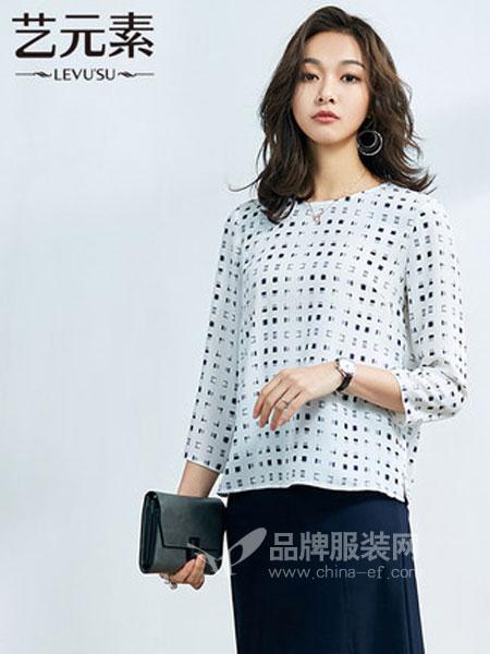 艺元素女装品牌2019春季圆领格子长袖雪纺衫衬衣女宽松衬衫上衣