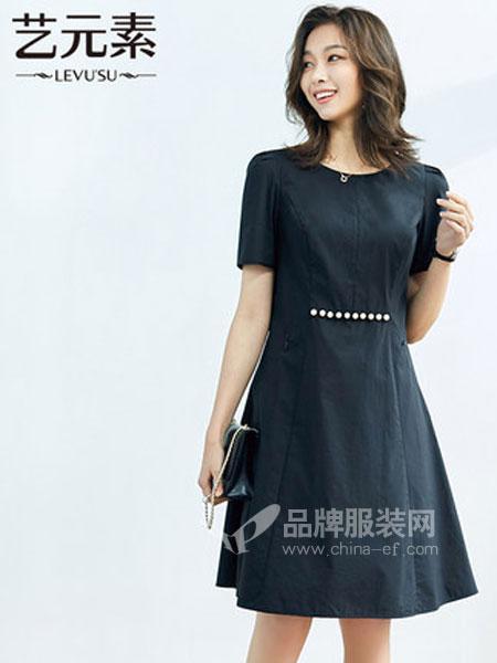 艺元素女装品牌2019春季chic韩版短袖连衣裙女装中长款宽松
