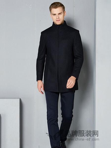 欧度男装品牌2018秋冬大衣黑色羊毛中长款立领男休闲商务时尚
