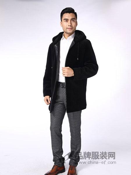 凯撒KAISER男装品牌2018秋冬韩版潮流男士风衣修身羊毛呢外套连帽