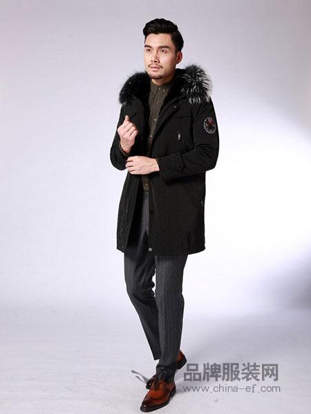 凯撒KAISER男装品牌2018秋冬连帽派克服大衣真皮皮草外套