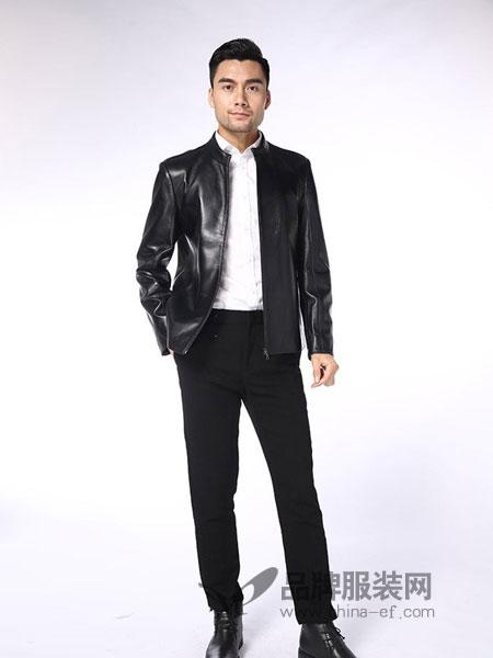 凯撒KAISER男装品牌2018秋冬海宁绵羊皮韩版修身皮衣男