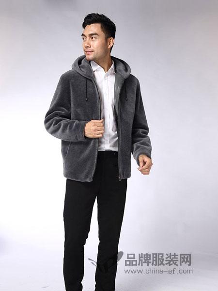 凯撒KAISER男装品牌2018秋冬羊剪绒短款带帽羊毛皮草夹克外套男