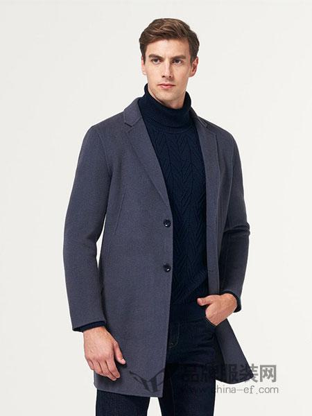 七匹狼男装品牌2018秋冬新款毛呢大衣中长款羊毛大衣双面呢子外套