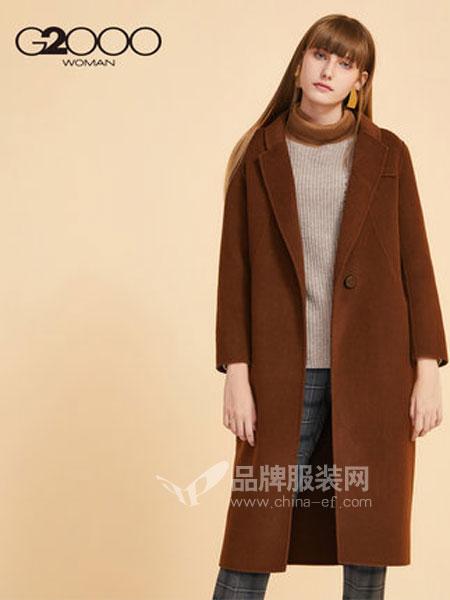 縱橫二千女装品牌2018秋冬简约气质焦糖色羊毛大衣