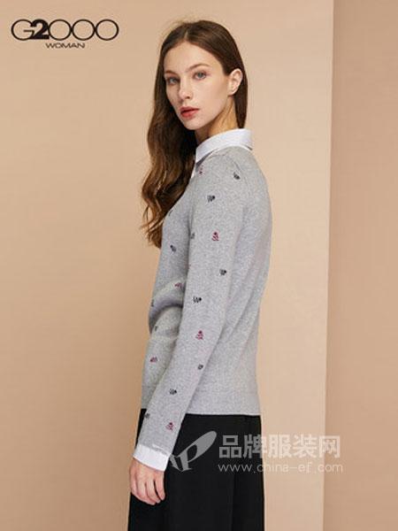 縱橫二千女装品牌2018秋冬衬衫领套头毛衣假两件波点针织衫