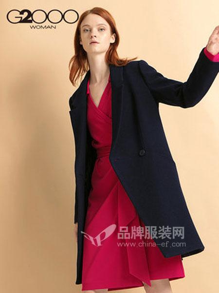 縱橫二千女装品牌2018秋冬OL通勤气质西装领毛呢大衣