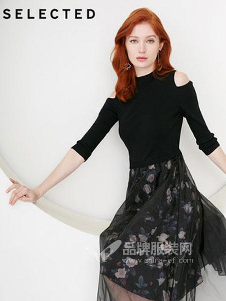 思莱德(SELECTED)女装品牌2019春季商务休闲针织拼接薄纱连衣裙
