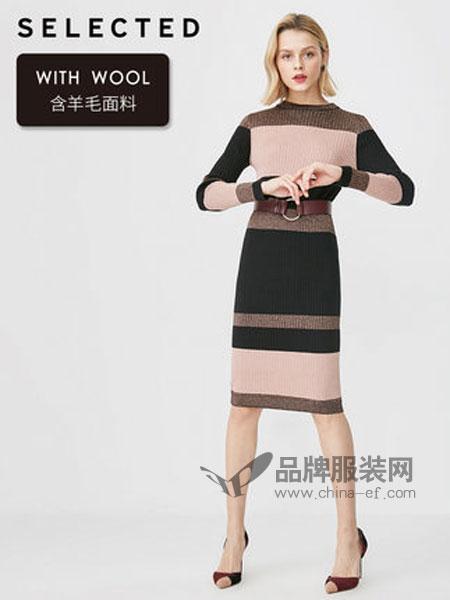 思莱德(SELECTED)女装品牌2019春季含羊毛亮丝拼接长袖针织连衣裙