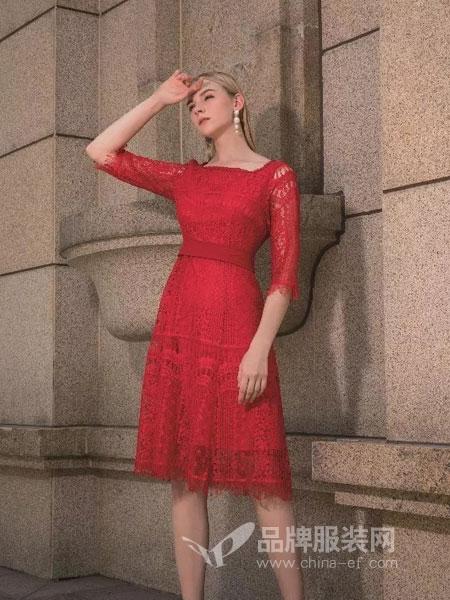 依贝奇女装品牌2019春季镂空显瘦长款裙子红色连衣裙