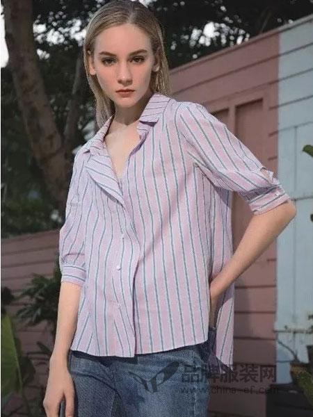 依贝奇女装品牌2019春季紫色条纹不对称连帽拼色衬衫