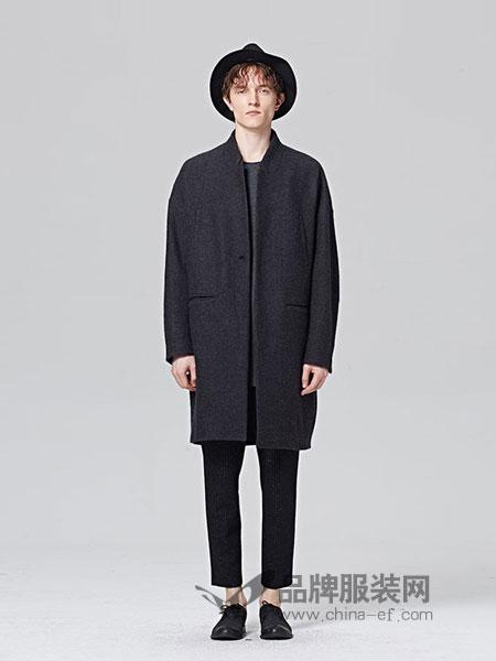 ZUEE術男装品牌2018秋冬 小立领中长款挺括毛呢大衣外套男