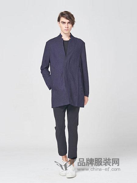 ZUEE術男装品牌2018秋冬立领修身休闲男装盘扣衬衣唐装