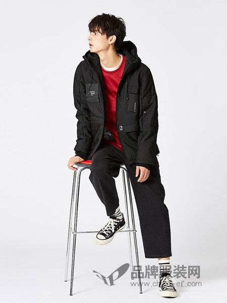 森所sensu男装品牌2018秋冬保暖舒适 短款连帽刺绣字母棉衣外套