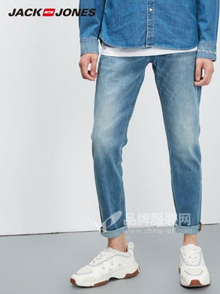 杰克琼斯Jack&Jones男装品牌2019春季弹力浅色修身小脚字母牛仔裤