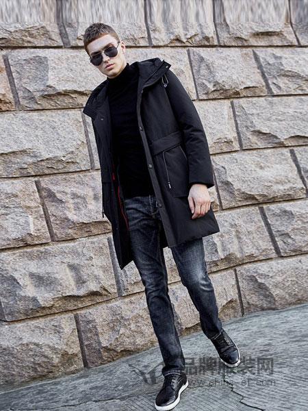 法派男装品牌2018秋冬新款保暖羽绒服连帽黑色男士外套长款帅气男潮装