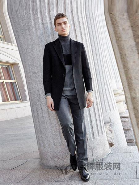 法派男装品牌2018秋冬韩版修身双面呢大衣中青年男士外套
