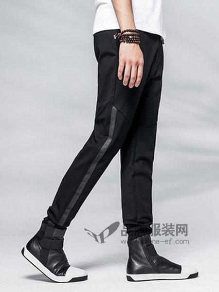 柒牌男装品牌2019春季时尚青年拼接刺绣休闲裤子