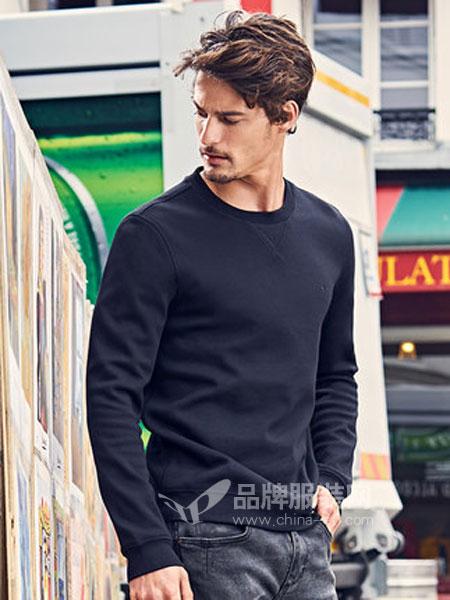布先生休闲品牌2019春季休闲纯色圆领衣服男士长袖卫衣