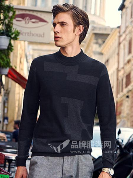 布先生休闲品牌2019春季休闲简约条纹撞色半高圆领纯羊毛