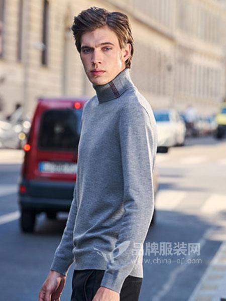 布先生休闲品牌2019春季时尚简约高领纯色休闲衣服毛衣