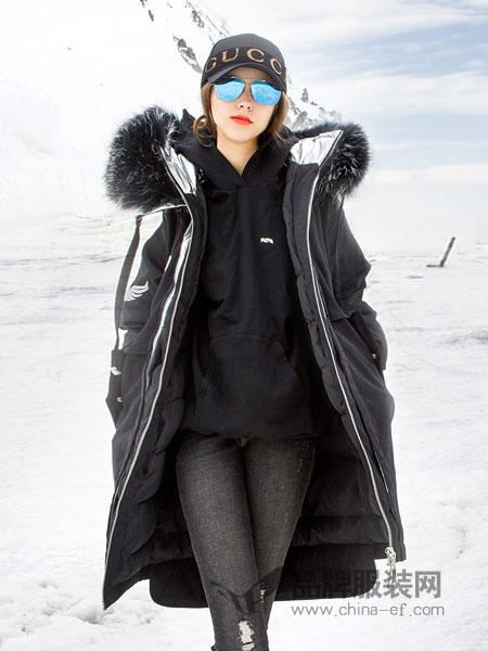 BG女装品牌2018秋冬新款棉衣外套毛领过膝显瘦