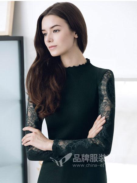 华歌尔Wacoal内衣品牌2018秋冬薄款性感蕾丝长袖小高领女式保暖衣