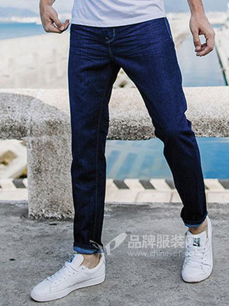 酷衣购男装品牌2019春季韩版修身小脚休闲牛仔长裤