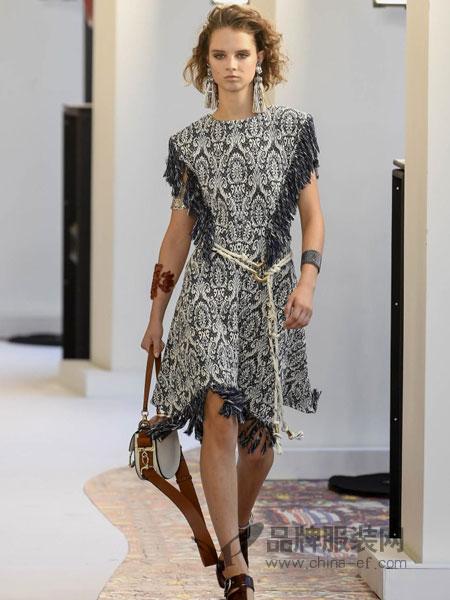Chloe蔻依女装品牌2019春季整体钩针蕾丝花边后拉链短袖连衣裙
