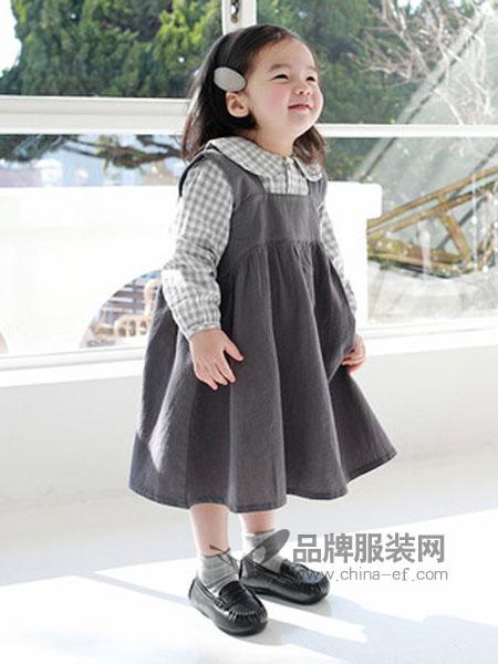嘟呗童装品牌2019春季童裙潮流格子连衣裙套装